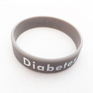 Diabetes silikoniranneke, uppopainatus, aikuisten koko - Diabetestunnukset - Suomen Diabeteskauppa